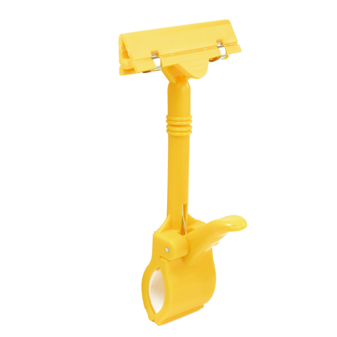 Rotating Yellow Clip On Extended Spring Sign Holder for Advertisement Display