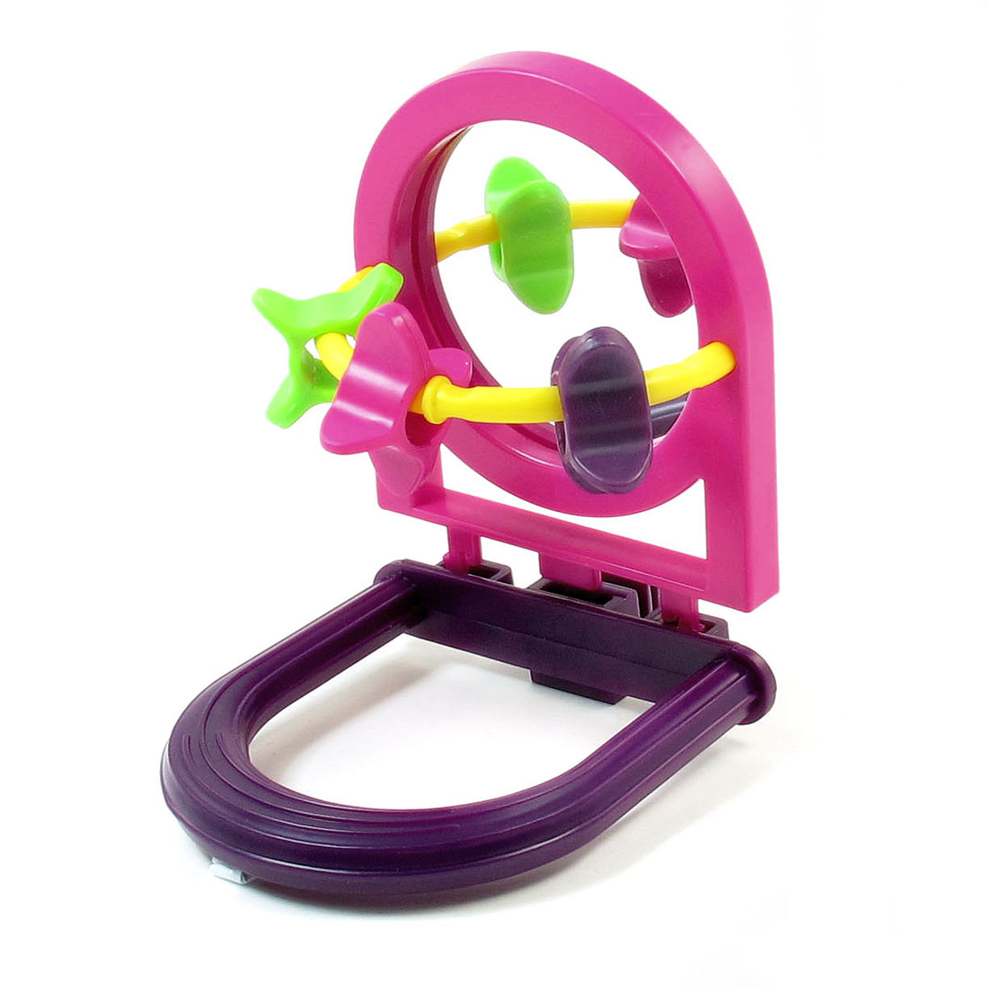Purple Fuchsia Plastic Whells Hanging Stand Bird Toys Holder w Mirror