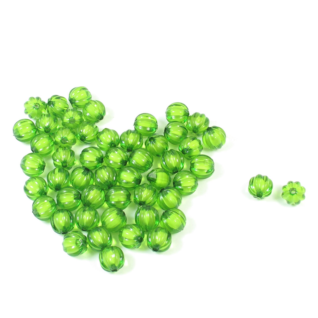 51 Pcs DIY Green Pumpkin Round Shape Plastic 12mm Beads