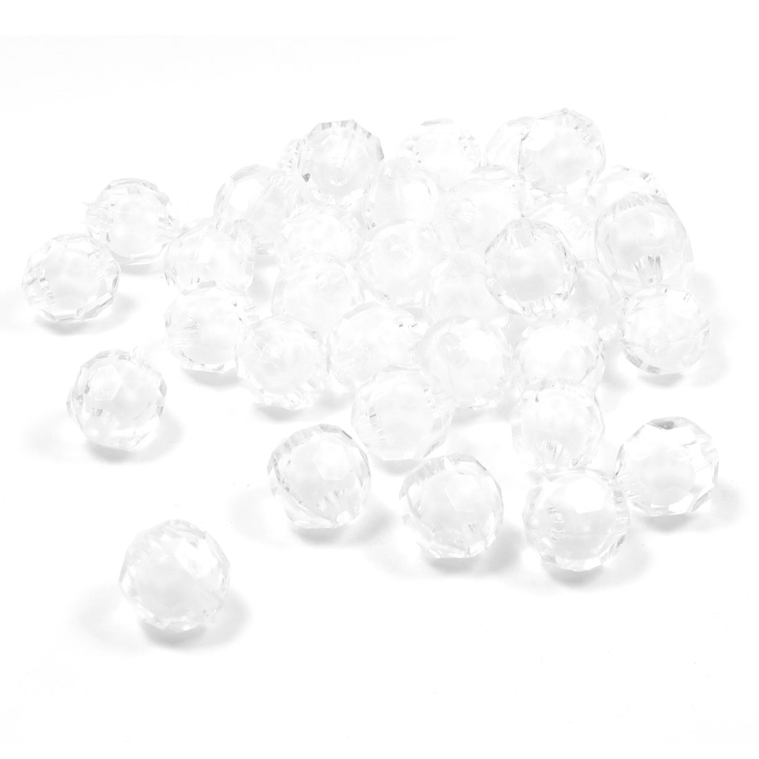 36 Pcs White Faceted Jewelry Findings Plastic Beads