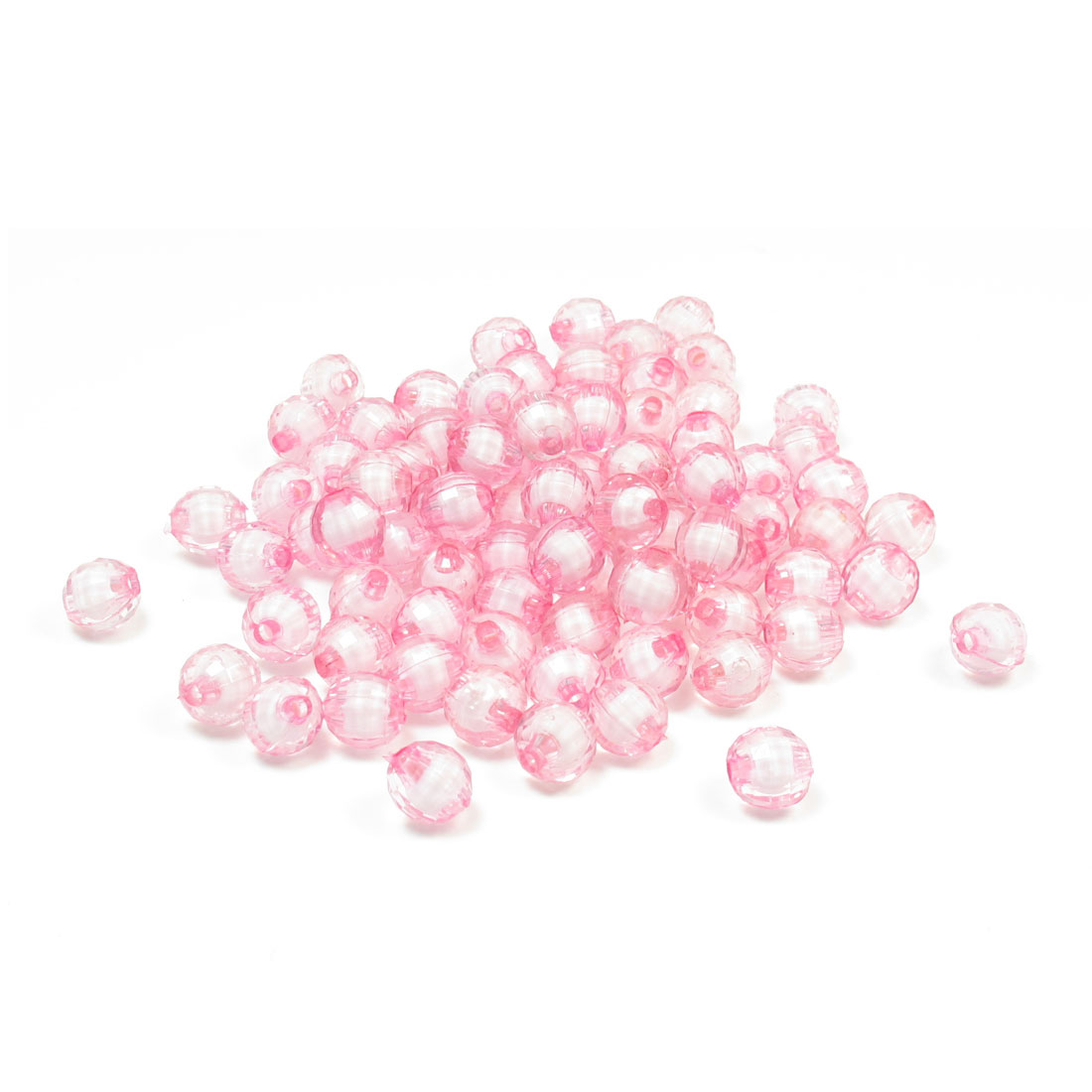 95 Pcs 8mm Jewelry Findings Craft Plastic Crystal Beads Pink