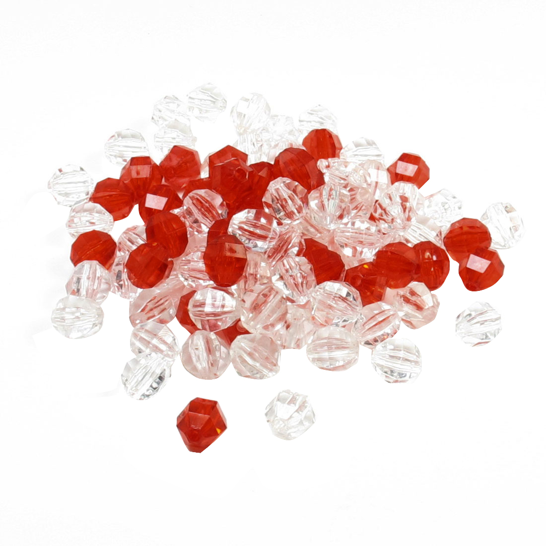 Bracelets Necklace Red Clear Plastic DIY Angular Beads 190 Pcs
