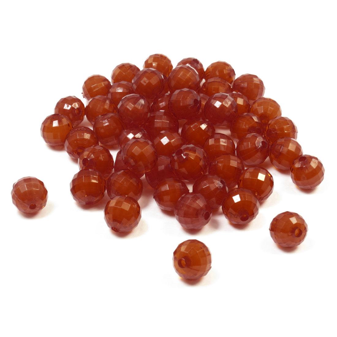 55 Pcs DIY Bracelet Red 12mm Diameter Round Shape Plastic Crystal Beads