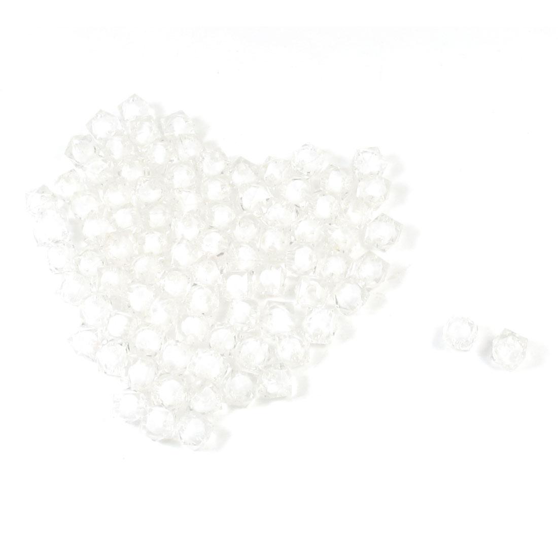 88x Necklace Bracelet Decor Clear White Square Shape Plastic Faceted Beads