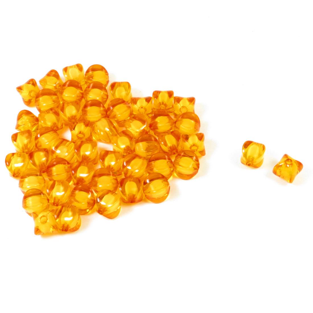 49 Pcs Necklace Bracelet Orange Plastic Square Shape Beads 11 x 11 x 12mm