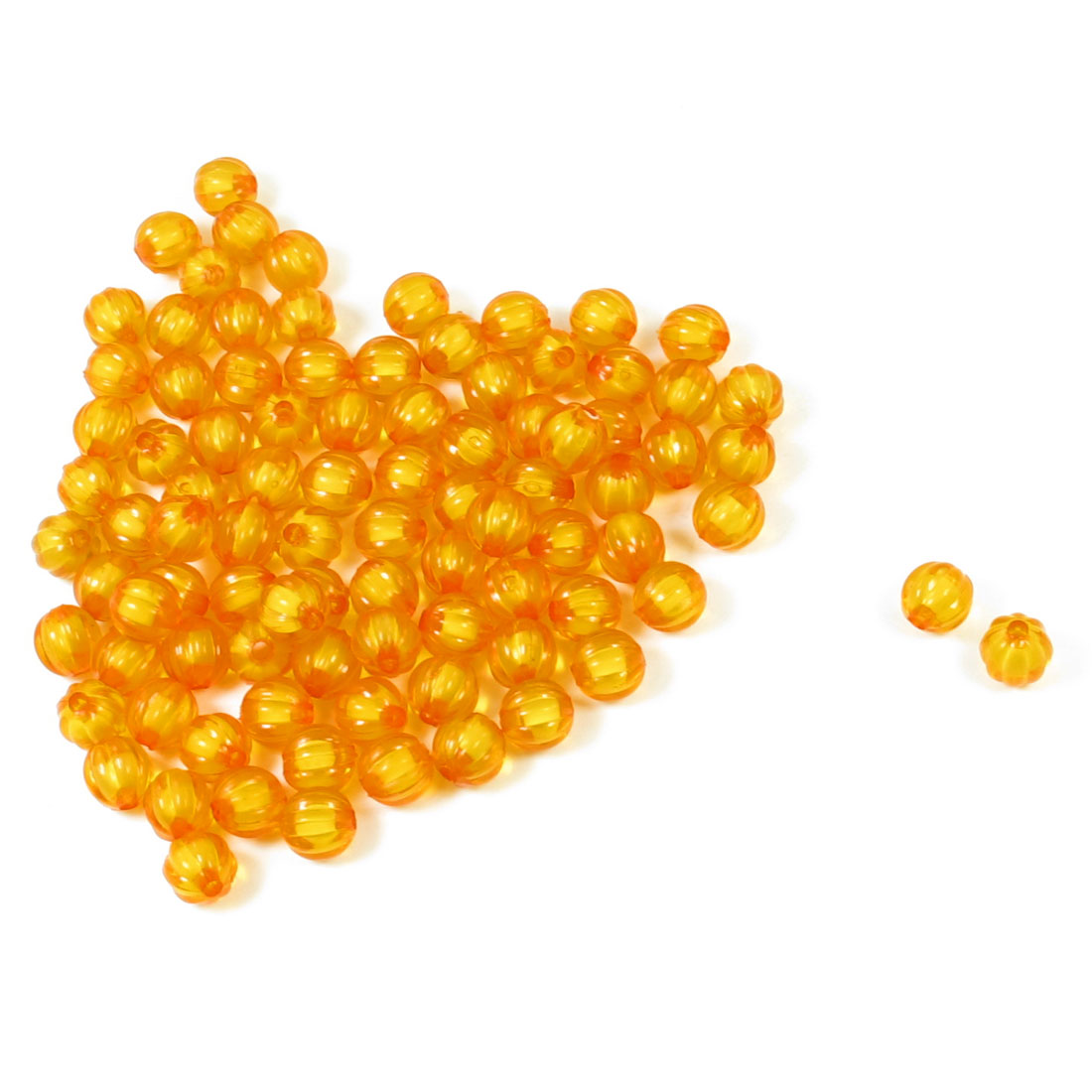 10mm Diameter Handcraft Bangle Orange Plastic Pumpkin Shape Beads 87Pcs