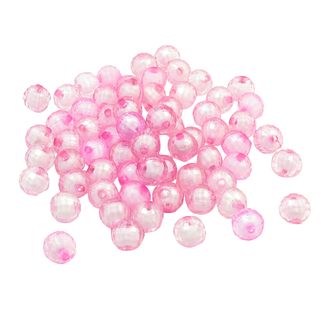 110 Pcs Handcraft Jewelry Earth Design Plastic Facted Beads Pink w Hole