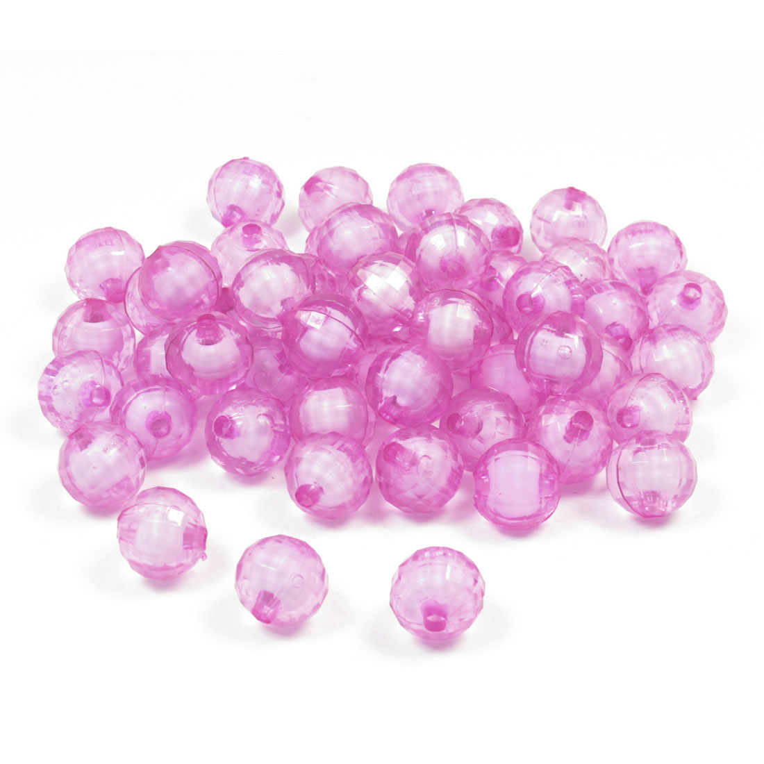 Plastic Faceted Crystal Ball Beads Fuchsia 55 Pcs for Necklace