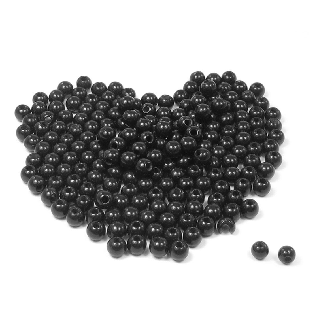 Craft Bangle Bracelet Black Round Shape Plastic Beads 205 Pcs