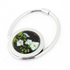 White Flower Pattern Foldable Handbag Hook Hanger Black for lady