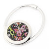 Pink Flower Pattern Silver Tone Metallic Foldable Handbag Hook Hanger