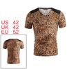 Men Leopard Print V Neck T Shirt Short Sleeve Shoulder PU Panel T-Shirt L