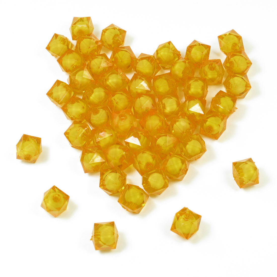50 Pcs Orange Faceted Plastic Beads Ornament for Aquarium