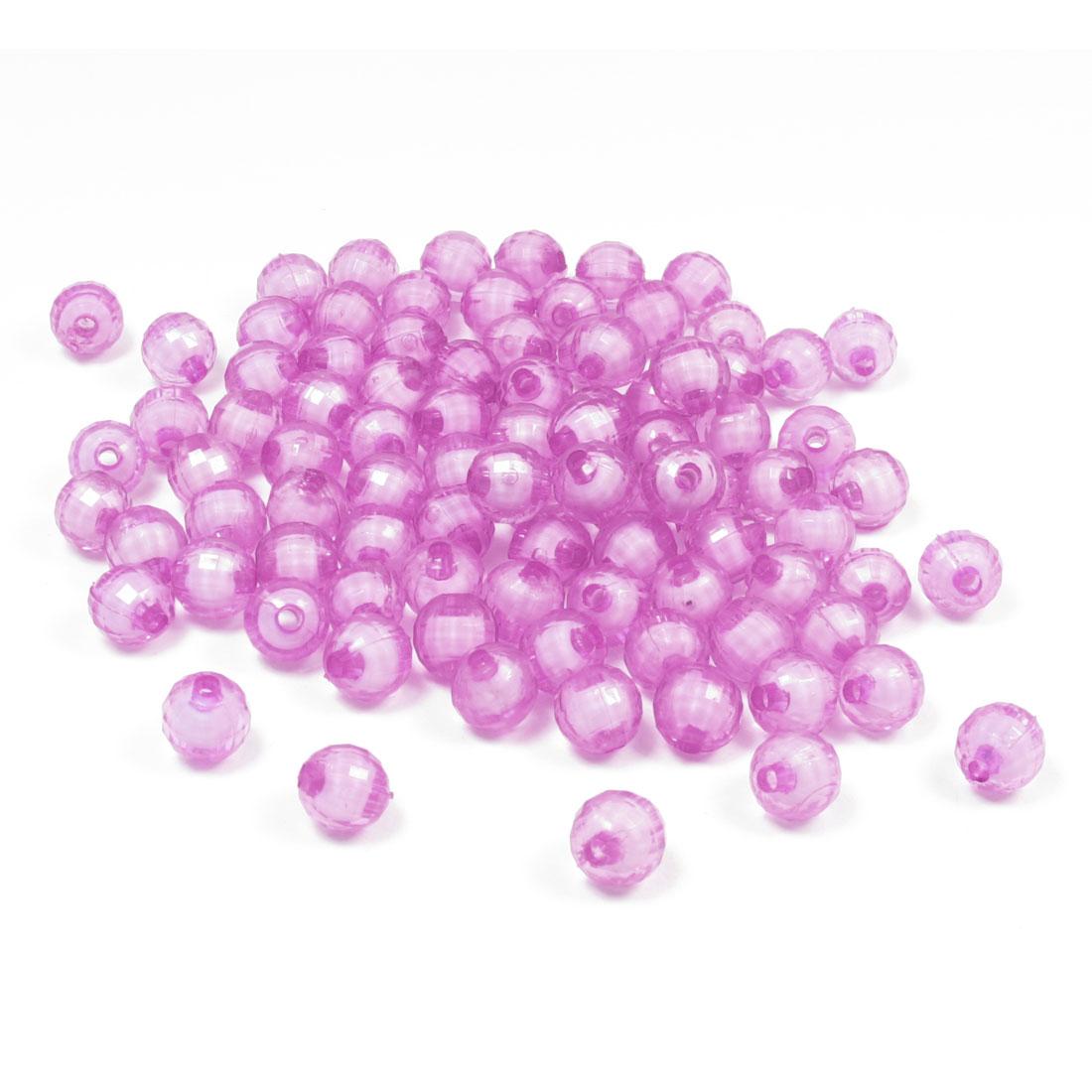 100 Pcs 8mm Fuchsia Plastic Jewelry Findings Crystal Ball Beads