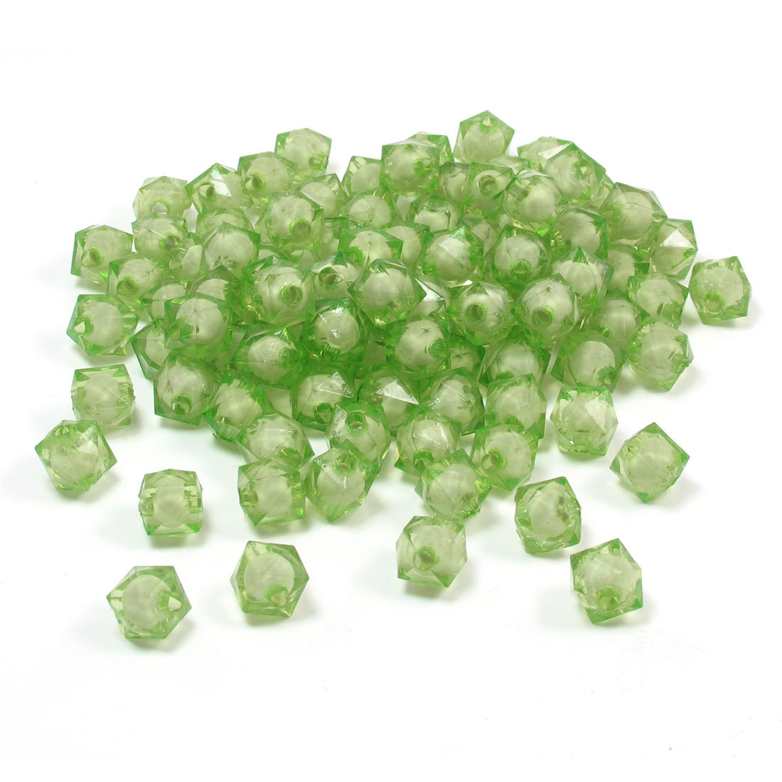 Bulk DIY Handcraft Plastic Green Square Shaped Faceted Beads 194 Pcs