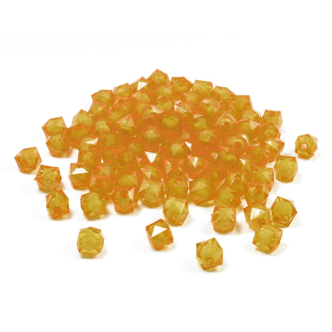 192 Pcs Orange Plastic Cross-stitch Bracelet Square Shape Faceted Beads