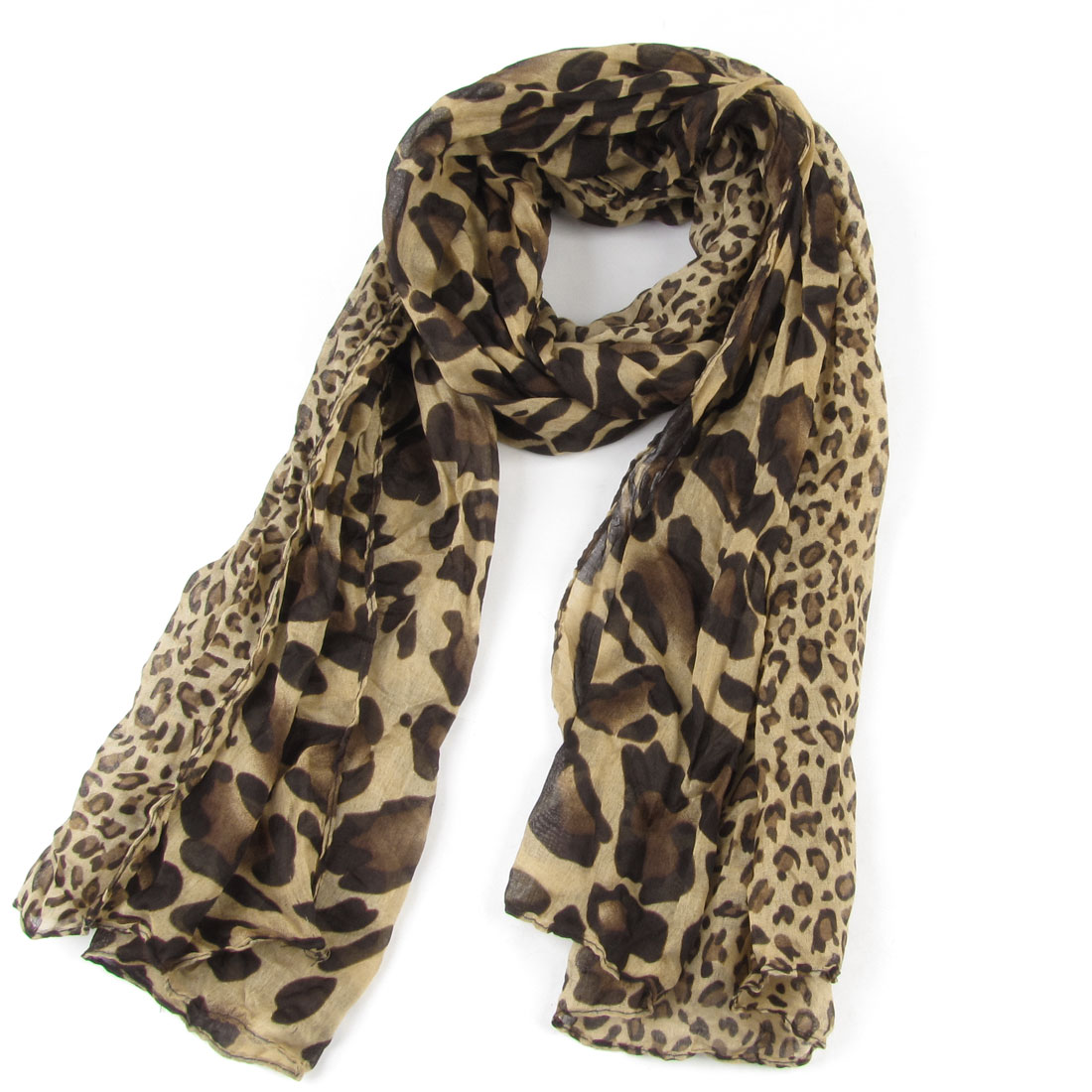 155cm x 83cm Brown Black Khaki Leopard Print Nylon Neck Scarf Wrap for Woman