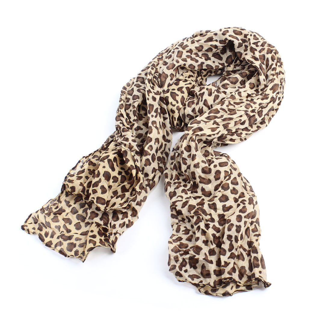 "Brown Camel Leopard Pattern 63"" Long Warmmer Neck Scarfs Shawl for Lady"