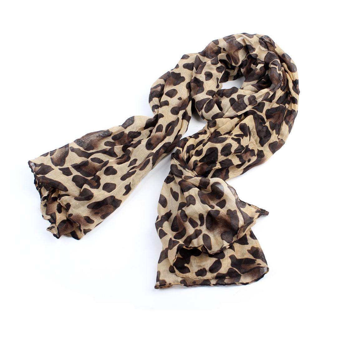 Woman Leopard Prints Rectangle 165cm x 84cm Neck Scarf Shawl Khaki Brown Black
