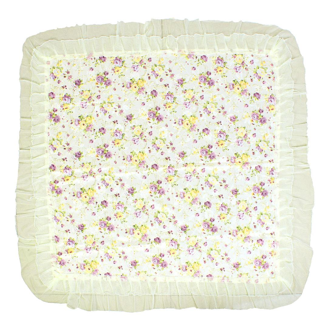 Household Floral Leave Pattern 90cm Square Tablecloth Desk Cover Purple Beige