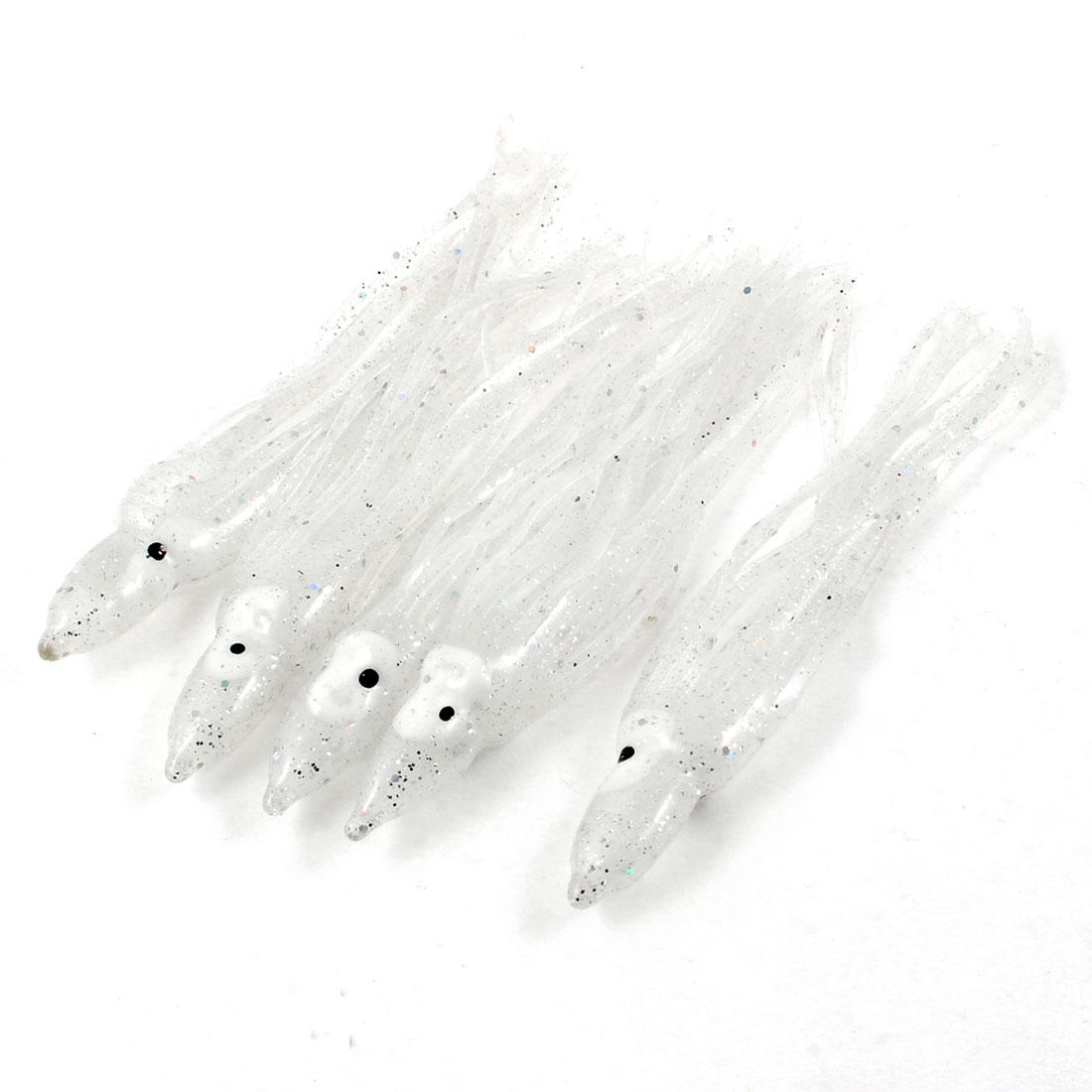 "5pcs 4.5"" Long Artificial Fishing Bait Octopus Squid Skirt Lure White Clear"