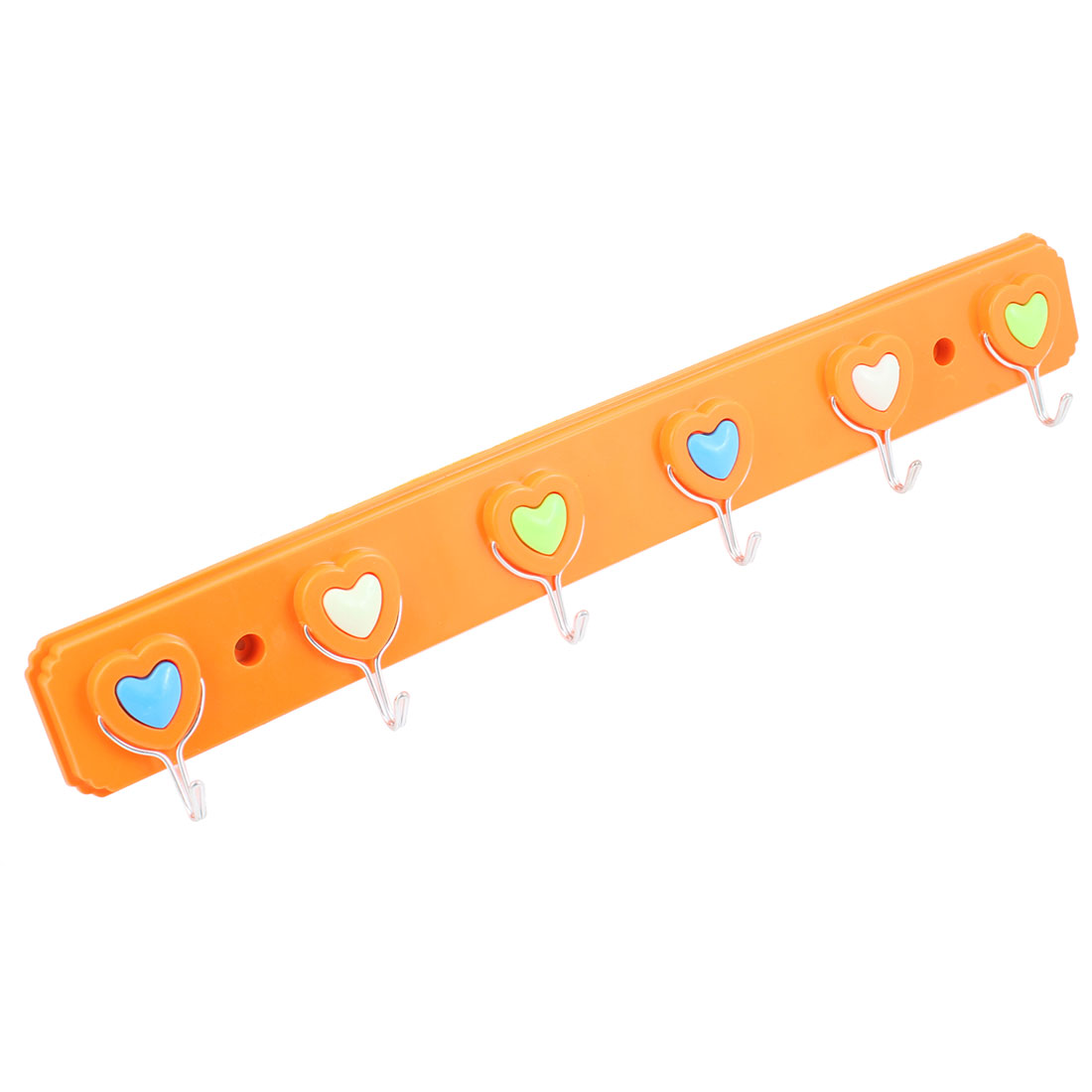 Washroom Self Adhesive 6 Metal Hooks Towel Wall Hanger Hanging Hook Orange