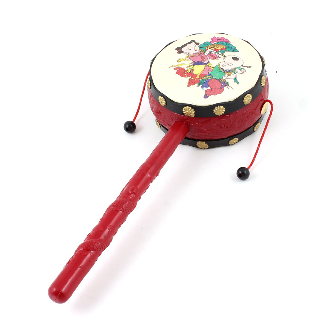 Red Beige Plastic Handle Children Pattern Hand Rattle Drum Play Toy for Babies