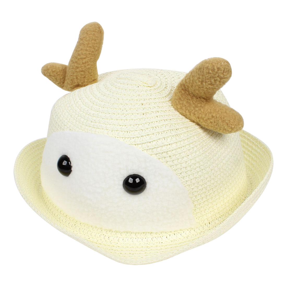 Girls Head Wear Straw Braid Weave Cloche Shape Hat Cap Beige