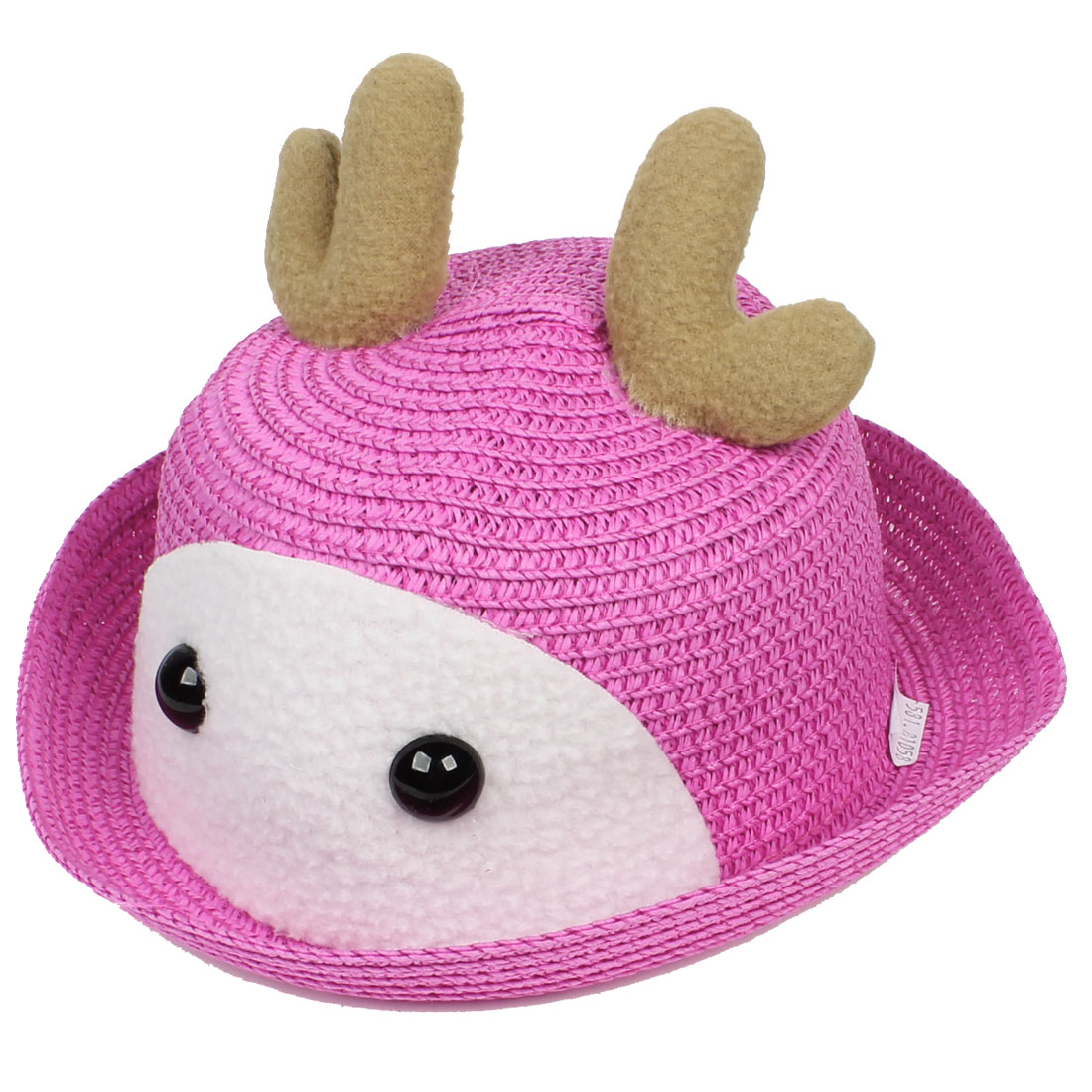 Cloche Shape Eyes Detail Beach Summer Straw Hat Cap Fuchsia for Kids