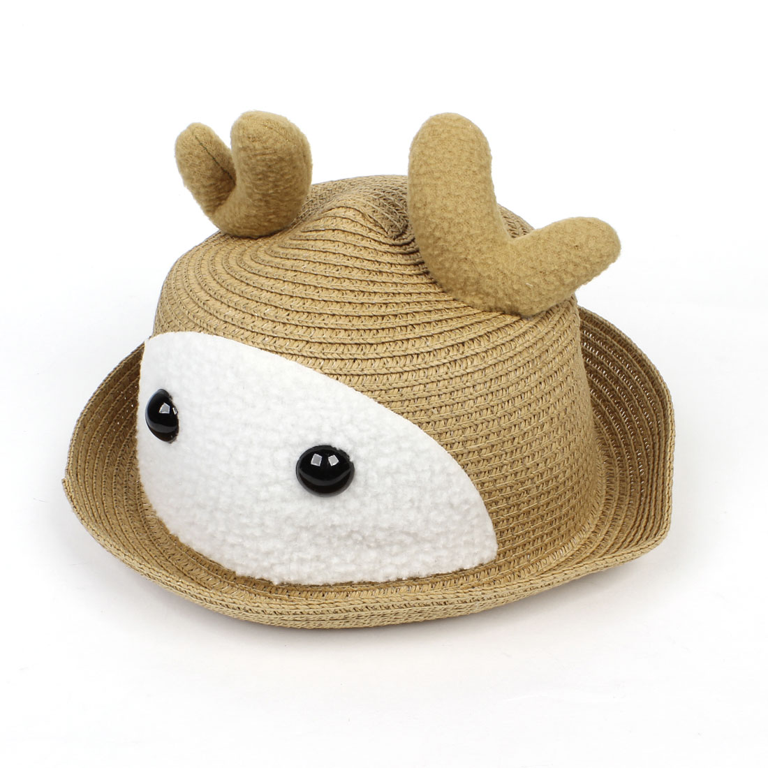 Cloche Design Eyes Detail Summer Casual Straw Hat Khaki for Kids