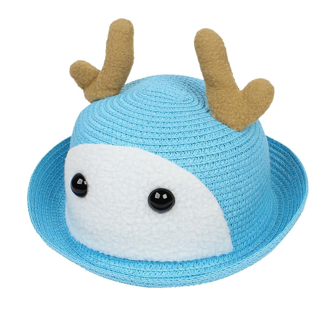 Girls Kid Straw Weaving Deer Detail Cloche Sun Outdoor Hat Cap Light Blue