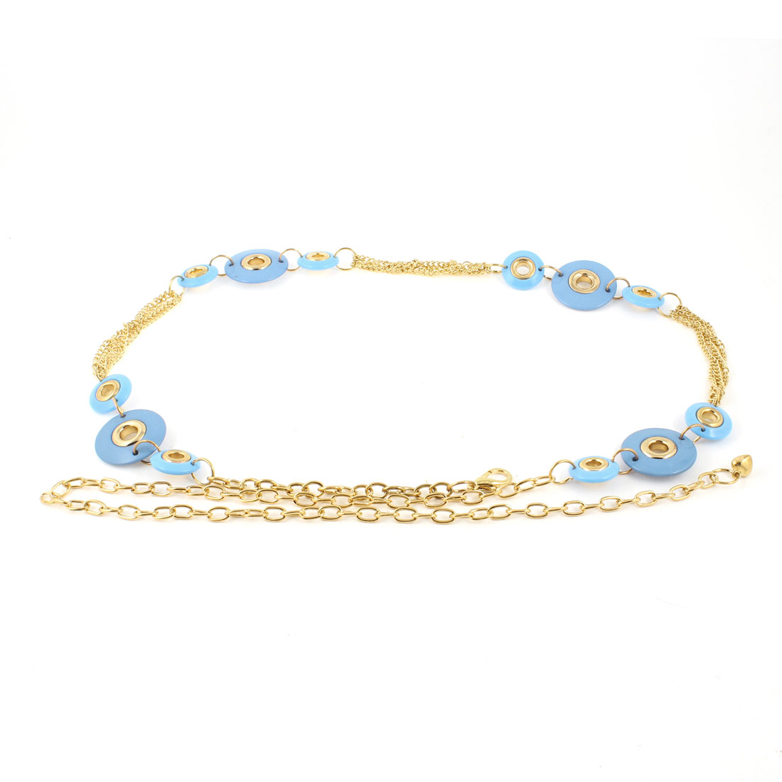 Ladies Round Beads Decor Adjustable Metal Chains Belt Waist Chain Gold Tone Blue