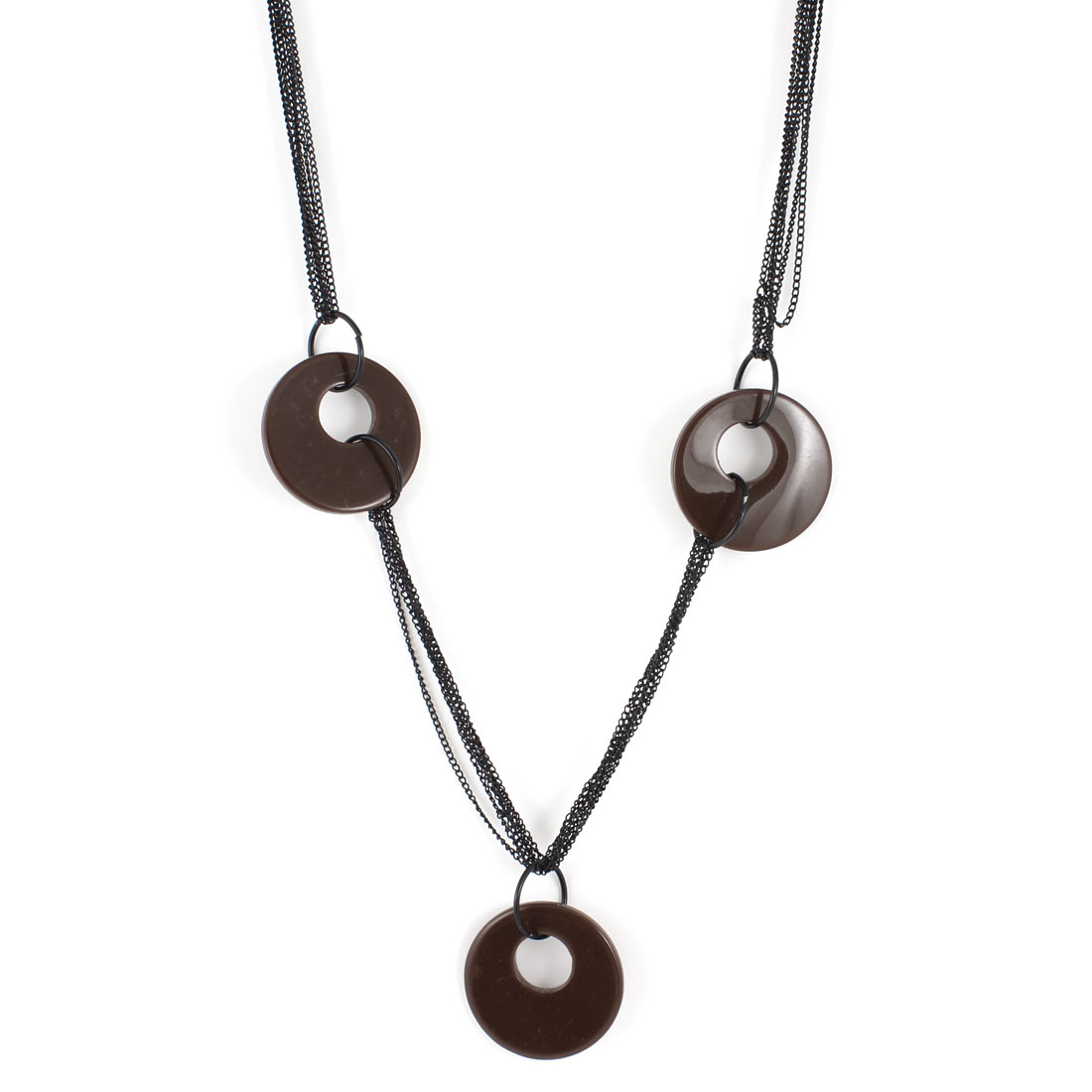 Woman Cloth Decor Round Pandent Black Brown Alloy Sweater Necklace