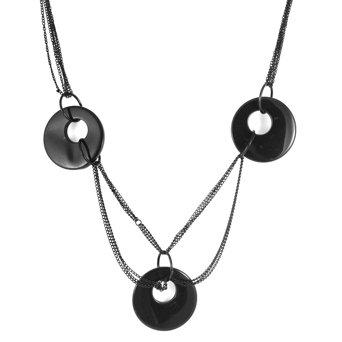 Lady Woman Black Plastic Round Pendant 6 Alloy Chains Sweater Necklace