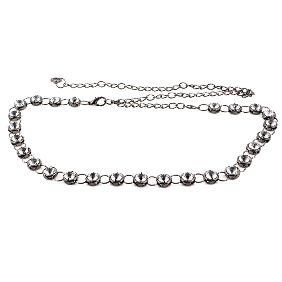 Lady Faux Crystal Decor Adjustable Metal Chain Waist Belt Dark Gray Clear