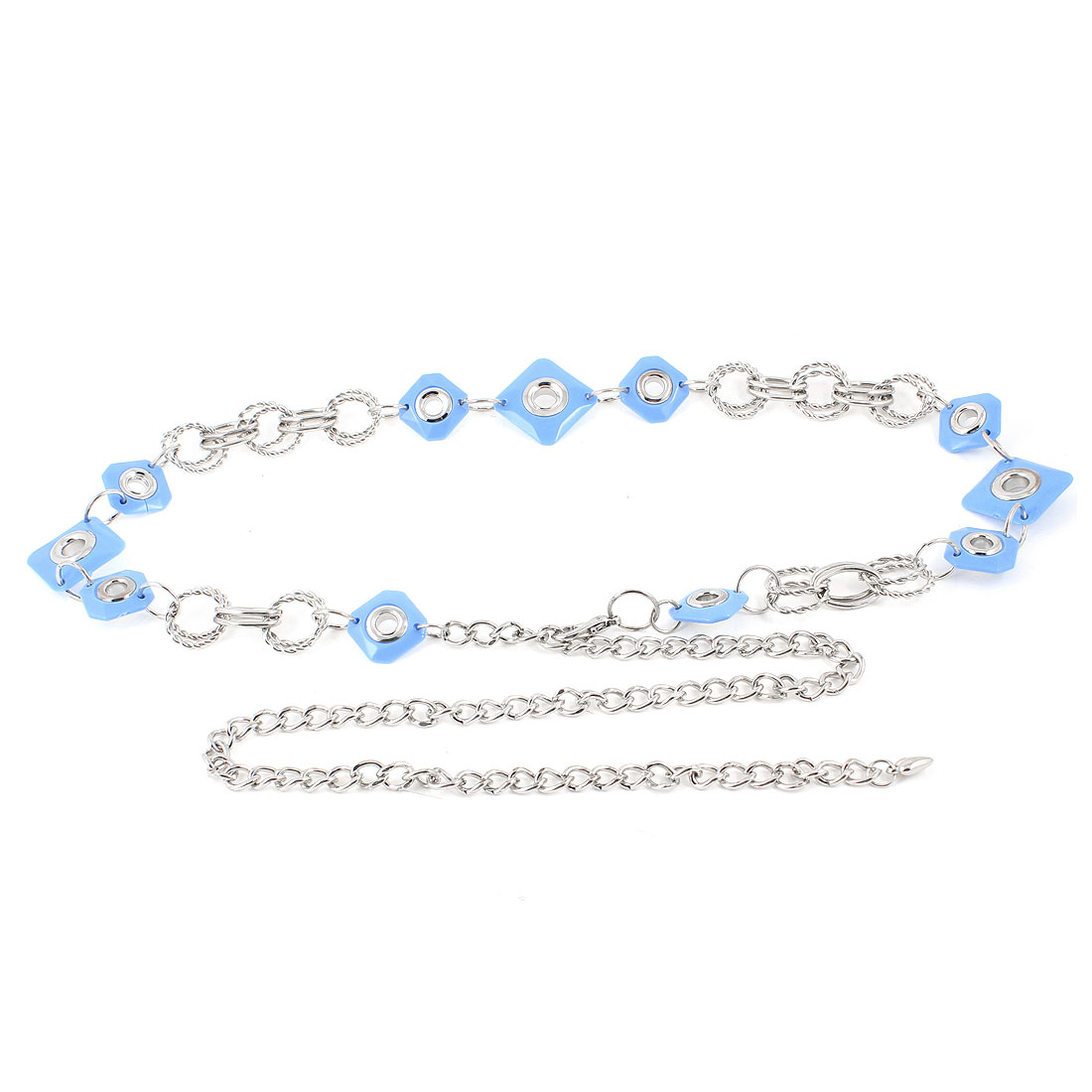 Ladies Square Beads Linked Adjustable Silver Tone Blue Waist Chain Belt