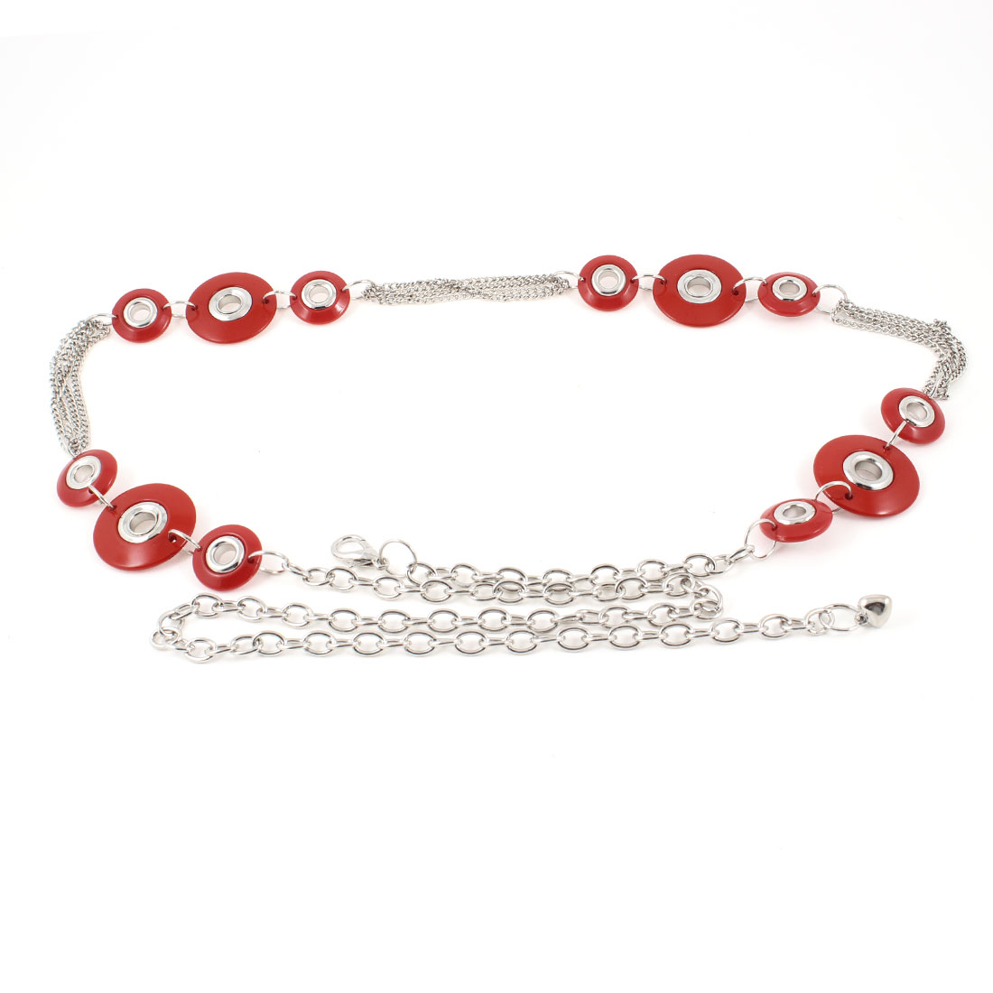 Ladies Hollow out Round Beads Linked Silver Tone Red Waist Chain Belt