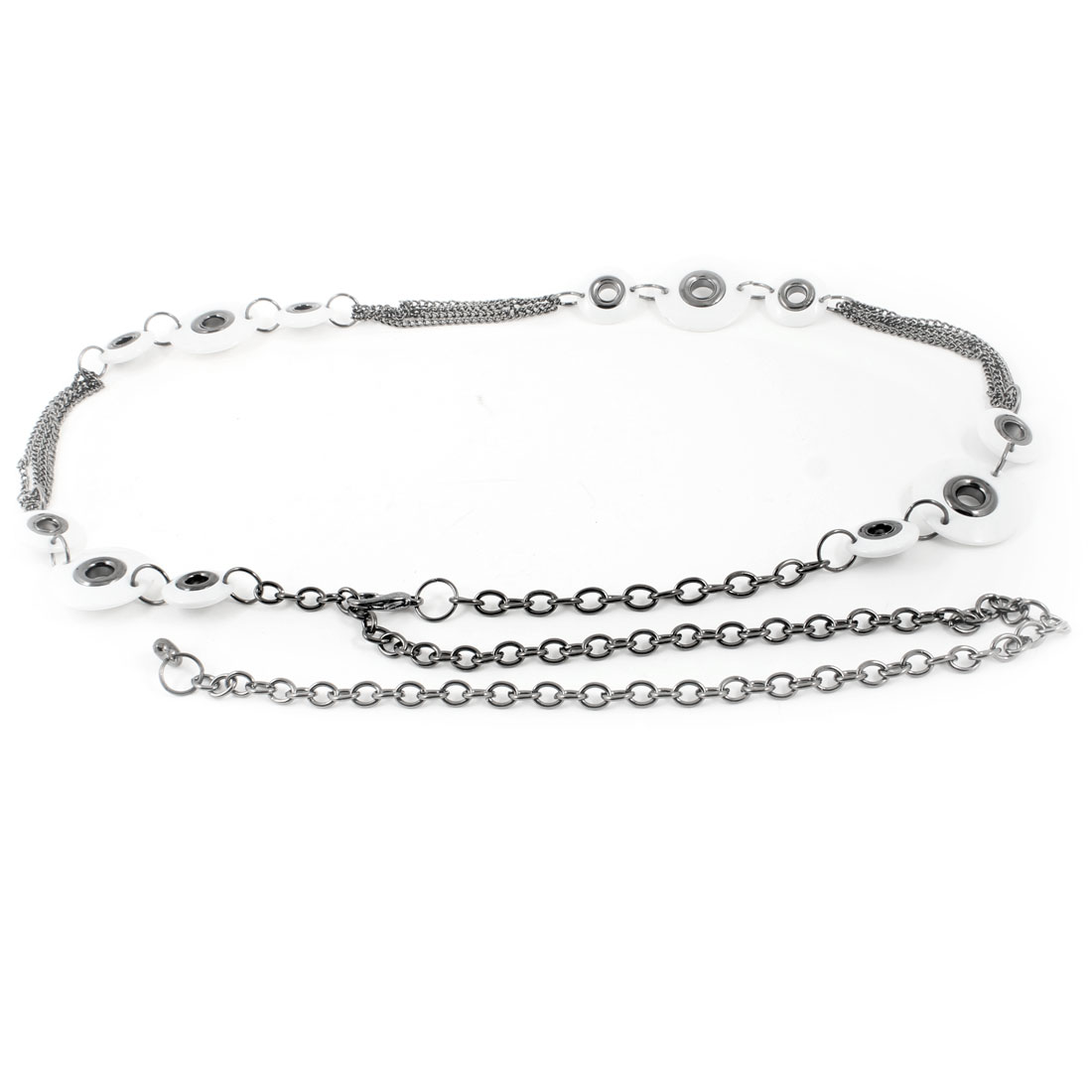 Ladies Cut out Round Beads Linked Adjustable Dark Gray White Waist Chain Belt