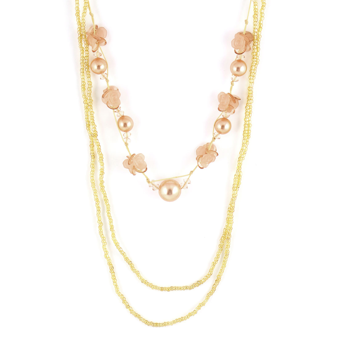 Women 3 Layer Beads Detail Sweater Chain Necklace Pale Apricot Yellow