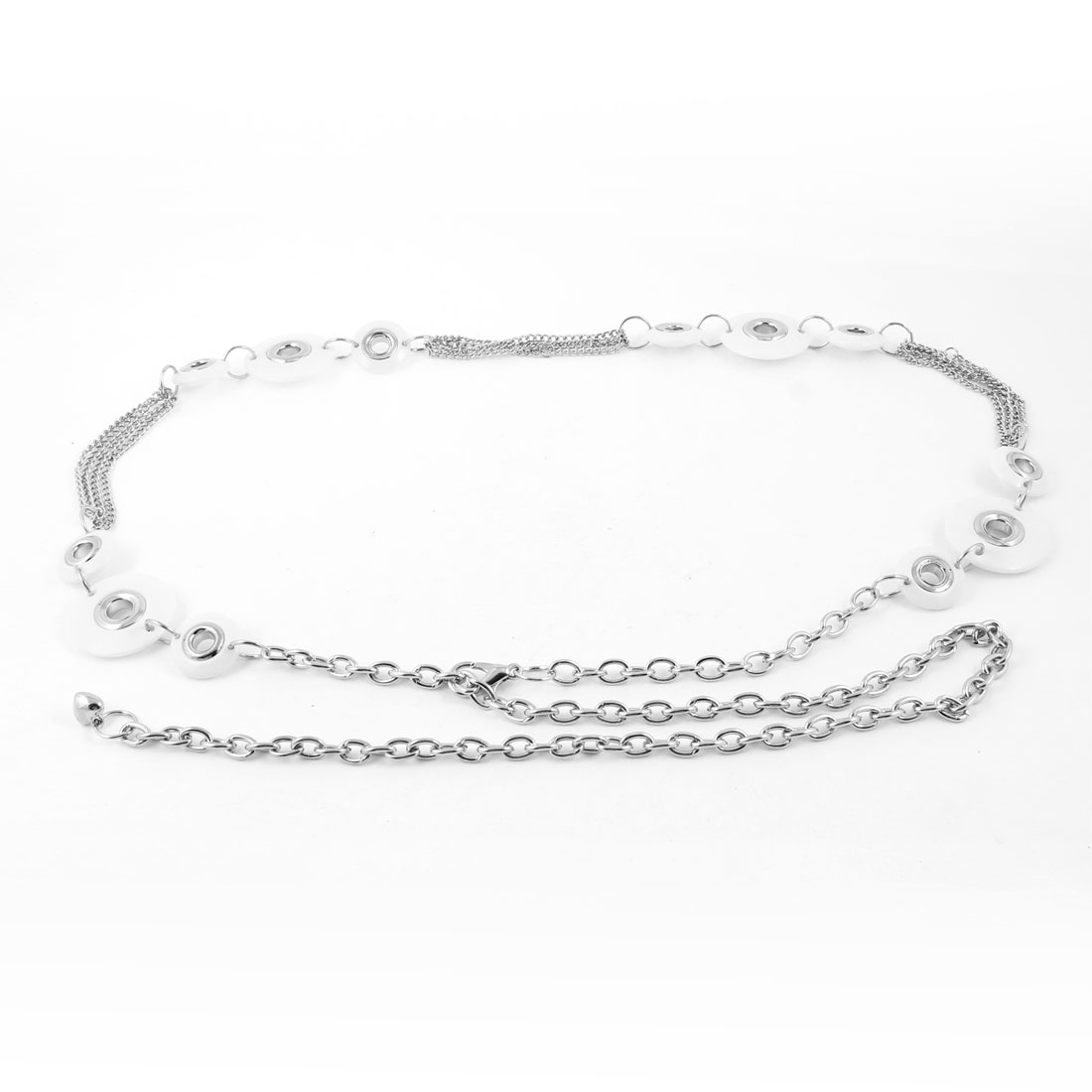 Ladies Hollow out Round Beads Decor Slim Waist Belt Chain Silver Tone White
