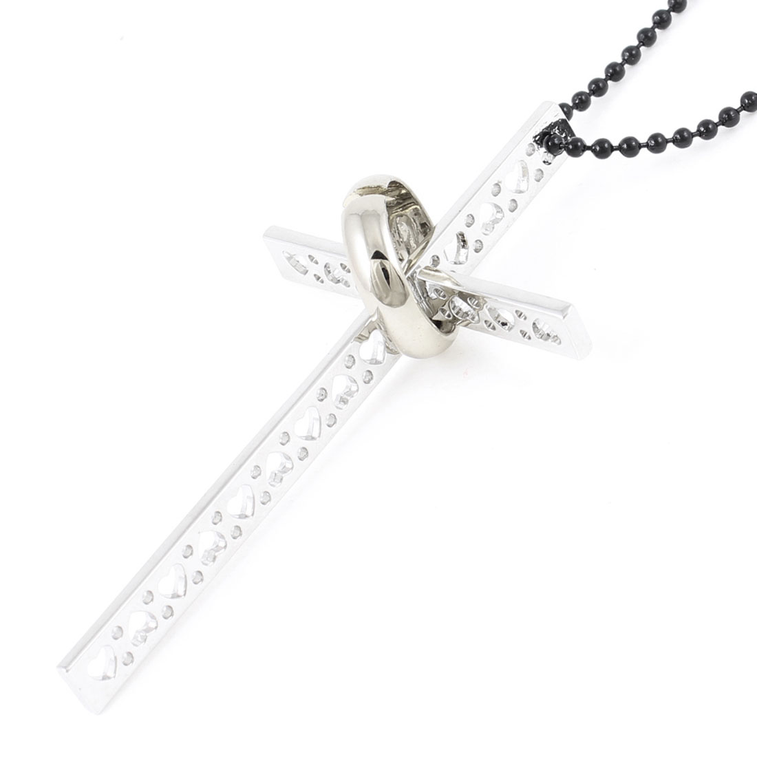Silver Tone Black Hollow out Cross Pendant Sweater Chain Necklace for Woman