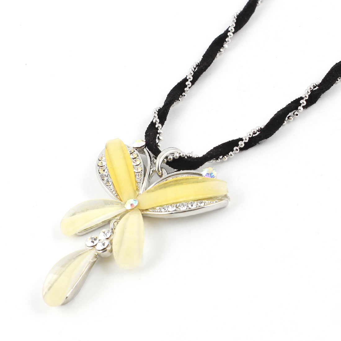 Women Butterfly Pendant 2 Layers Black Silver Tone Chains Sweater Necklace