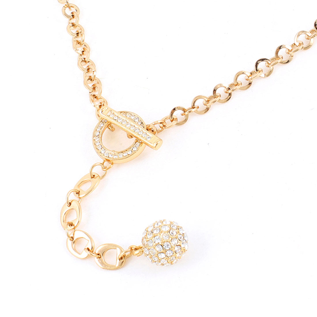 Ladies Glitter Rhinestone Detail Ball Dangling Sweater Necklace Gold Tone