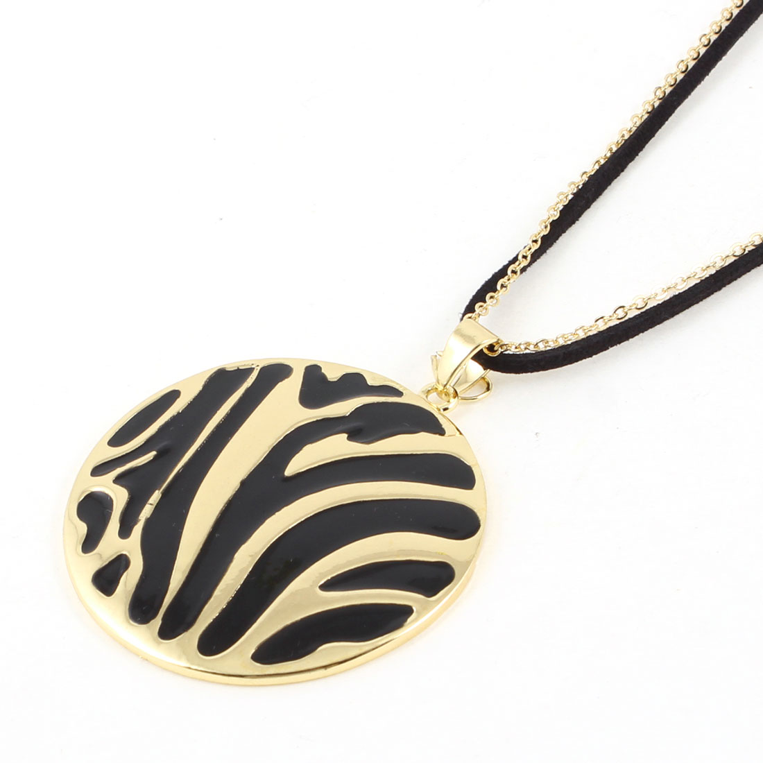 Black Gold Tone Stripe Round Pendant Sweater Chain Necklace for Lady Ladies