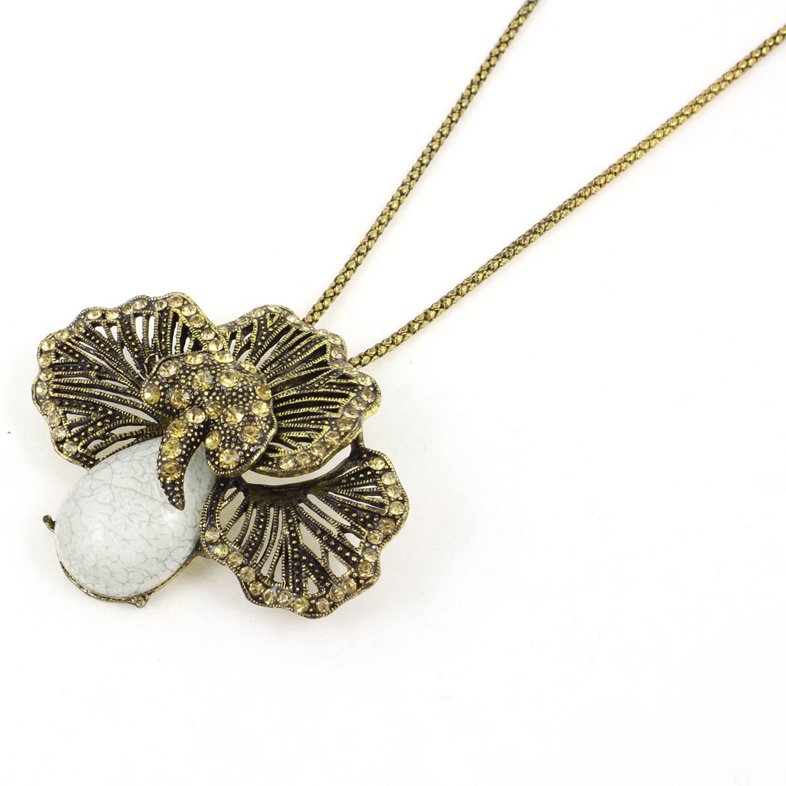 Woman Cloth Decor Mushroom Detail Beige Gold Tone Alloy Sweater Necklace