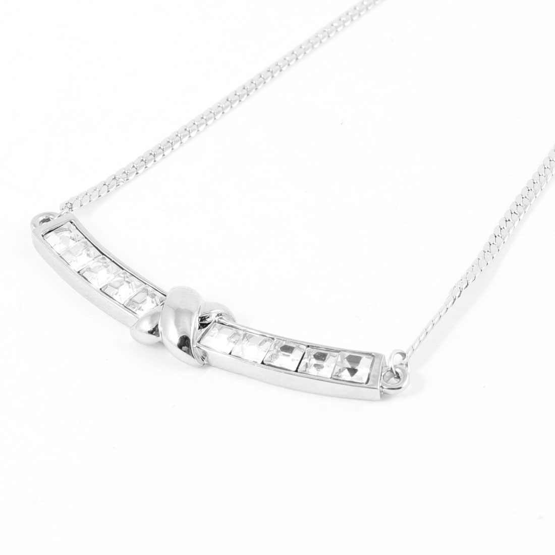 Ladies Silver Tone Arc Pendant Lobster Clasp Closure Neck Chain Necklace