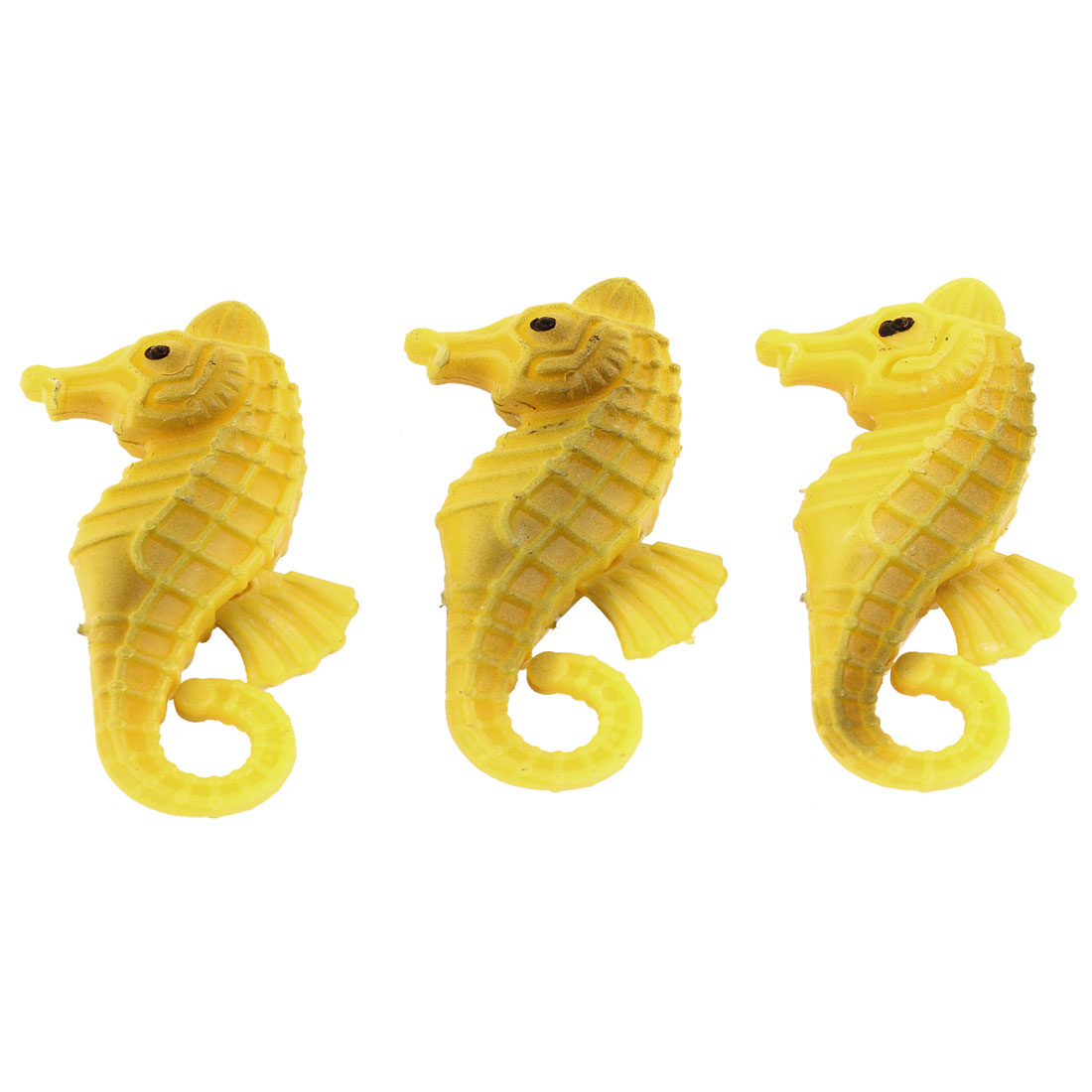Fish Tank Aquarium Plastic Artificial Seahorse Floating Ornament Yellow 3 Pcs