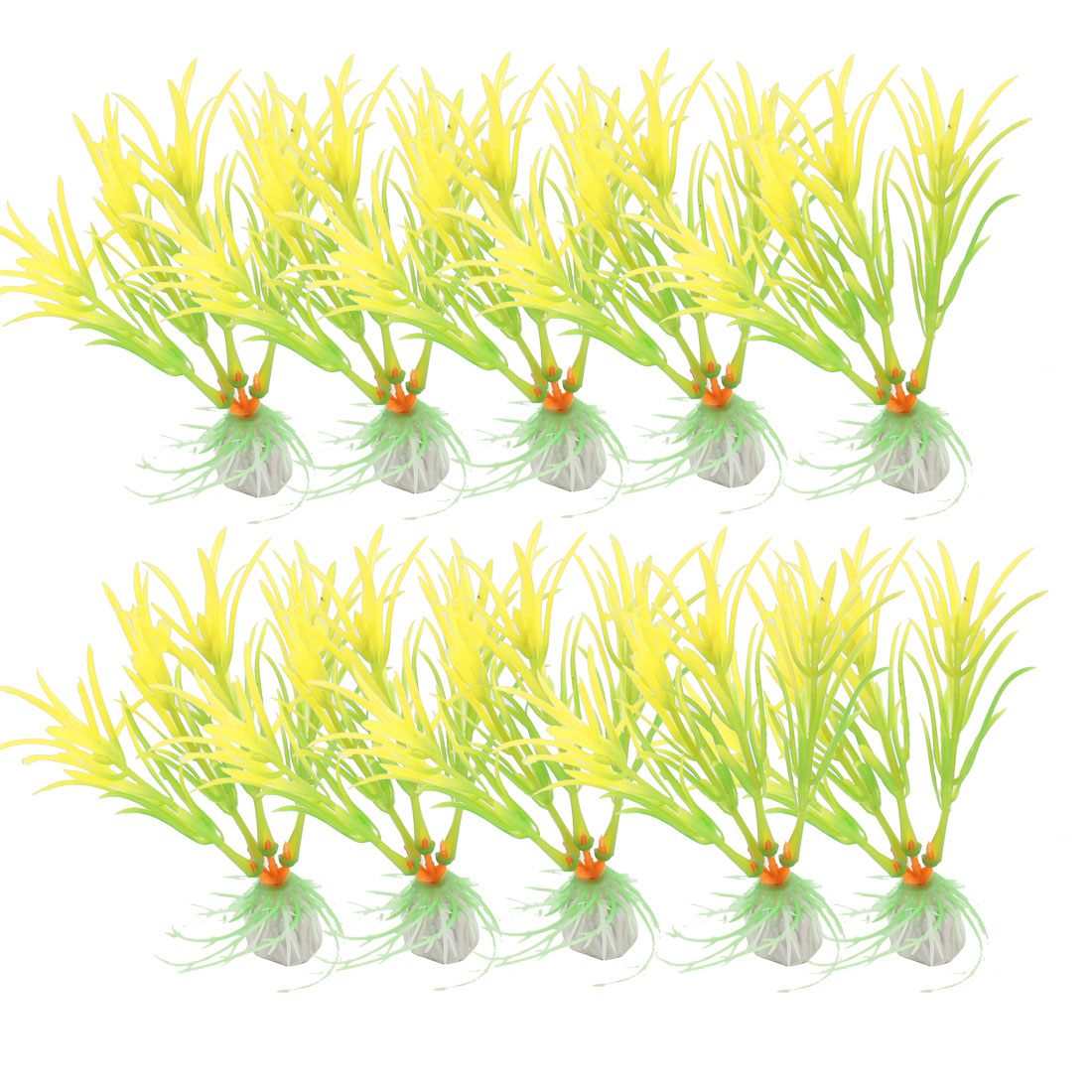"4.3"" Height Green Yellow Plastic Grass Adorning Fish Aquarium Landscape 10 Pcs"