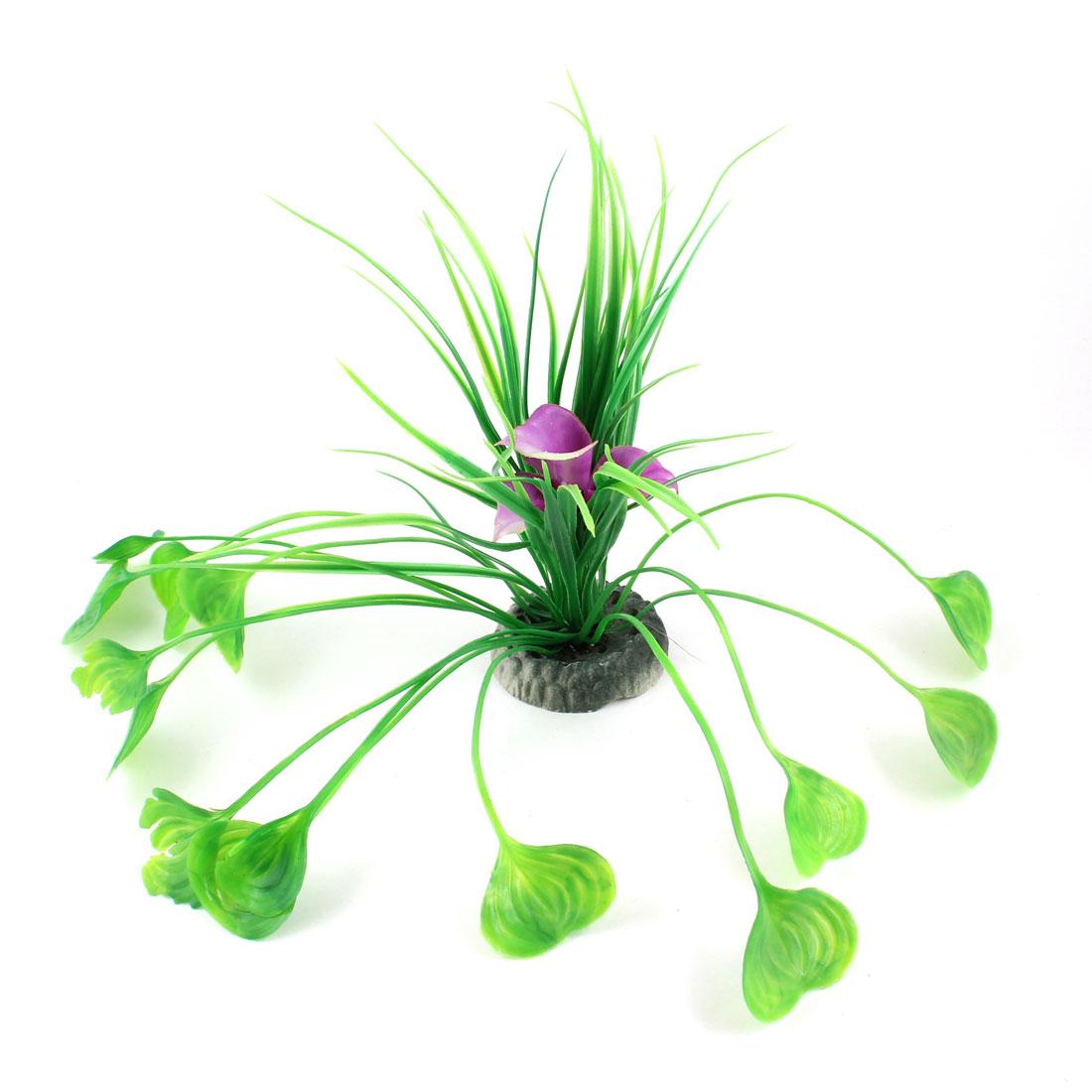 "9.4"" Height Green Purple Plastic Grass Adorning Fish Aquarium Landscape"