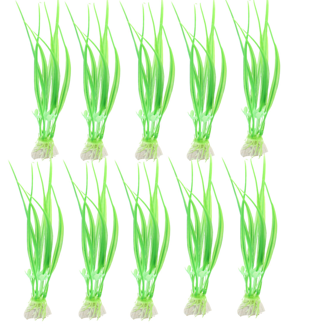 "10 Pcs Fish Tank Landscaping Ceramic Base Green Grass Decor 6.5"" High"